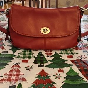 Coach Red Leather Saddle Bag